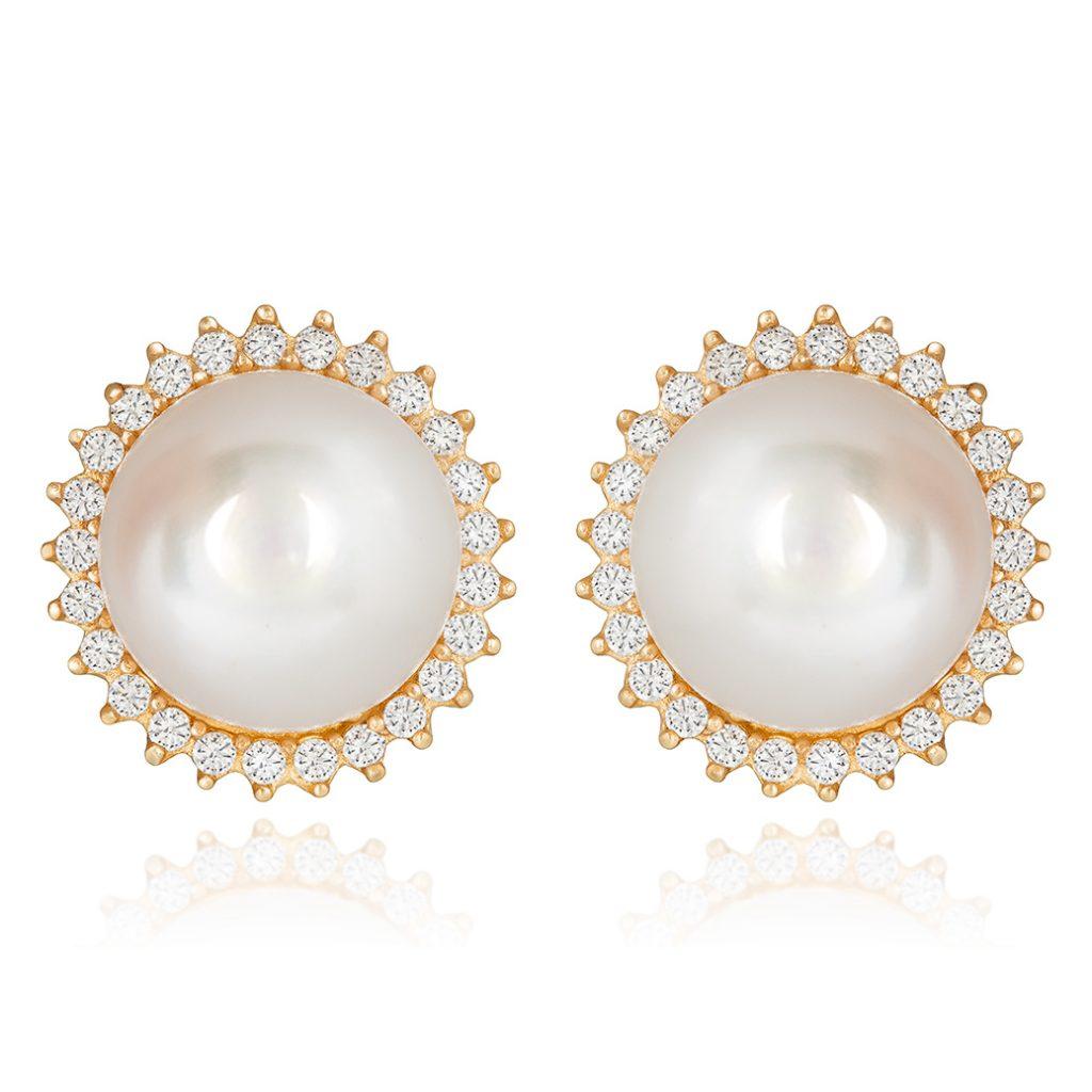 Perlas con bisel de piedras